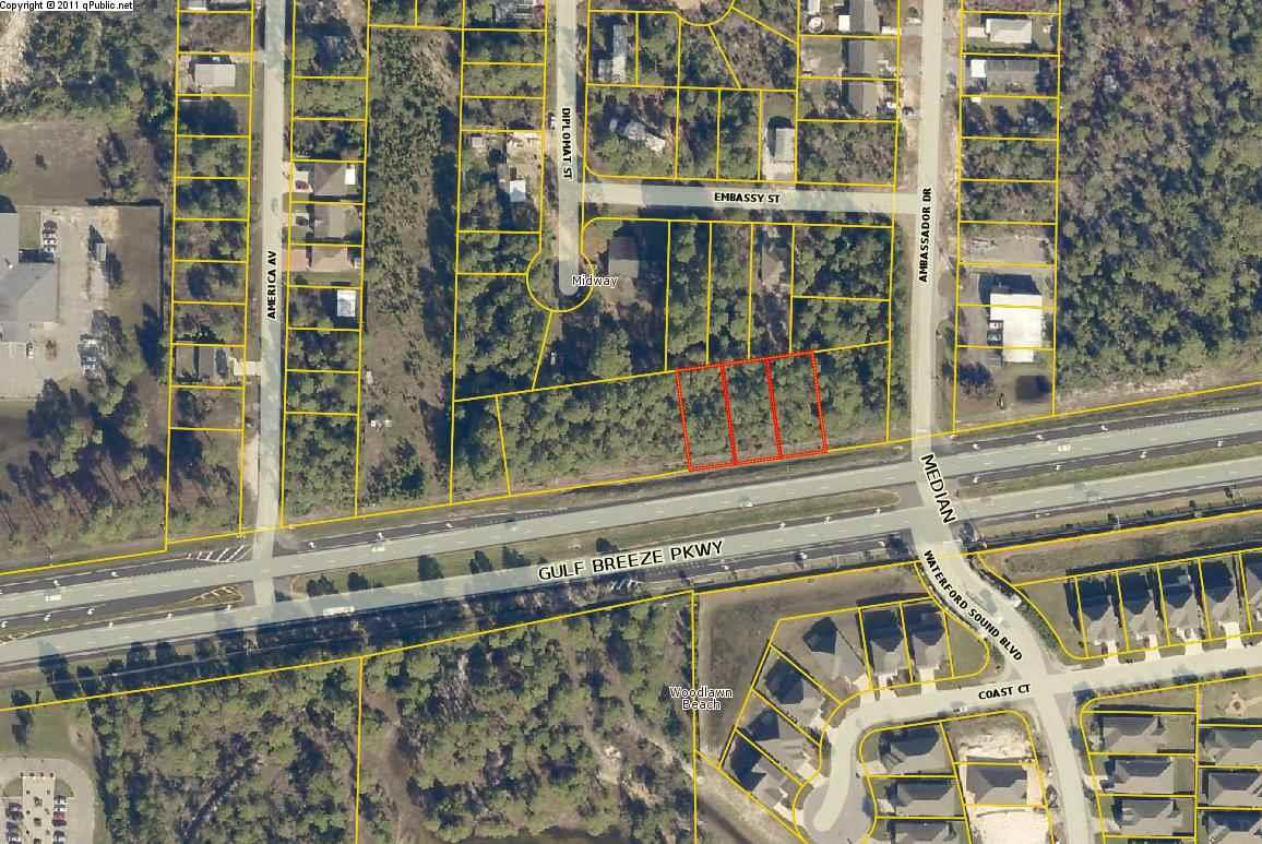 Excellent .45-acre site available in Gulf Breeze. The .45 acres is conveniently located near both Pensacola Beach and Navarre Beach. The site consists of 3 total parcels which are each zoned HCD commercial. The HCD zoning allows for a variety of commercial uses and the site would be perfect for a retail or office use. There is +/- 165 ft of frontage on Hwy 98/Gulf Breeze Pkwy and the site is +/- 118 ft deep. The nearby area is surrounded by several residential subdivisions, Pensacola State college, the Gulf Breeze Zoo, and a new retail developments including the new Publix shopping center.