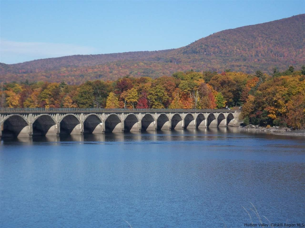 The paved pedestrian only trail is nearby.  Enjoy gorgeous views of the reservoir and Catskill Mtns!
