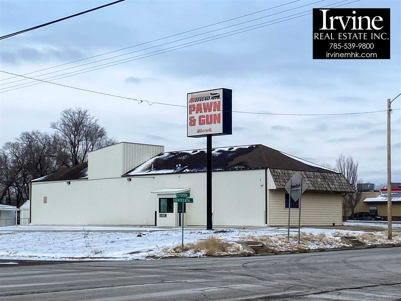 Seize the opportunity to own your own business building in Junction City!  Located on one of the busiest intersections in Junction City and already has a drive-thru window and large overhead door!  There are 101 options for this building; wood shop, car shop, dry cleaning, janitorial/cleaning service, eating establishment or drive-through restaurant, management services, bank, alcohol/liquor catering business, and much more!  Call Marlene Irvine: 785-341-8576 to view this property!