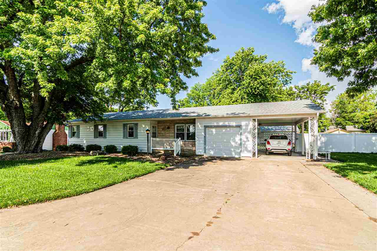 A quality built 50x30 detached shop/garage (heated & cooled) w/concrete floor, is a positive selling point on this clean, sharp property with curb appeal-it has a well & sprinkler system creating a plush yard. Easy access to rear of property and shop by roadway.  Located on a cul-de-sac, this comfortable ranch home has been kept in great condition. The kitchen has oak cabinets, a dining area & patio door that goes out onto a covered deck for entertaining. A generator comes with the property. There is a master bath off the master bedroom. The main floor laundry has an exterior door leading outside. The bsmt has a familyroom, a 4th bedroom (non-egress) & an additional room for an office/hobby room, along with an unfinished mechanical room. There's a 1-car attached garage and an extra concrete pad with carport for a 2nd vehicle space in front. Bonus: A double carport on gravel & a nice 16x12 storage shed in rear. Contact Becky Schwab, 785.479.1920 for your personal showing.