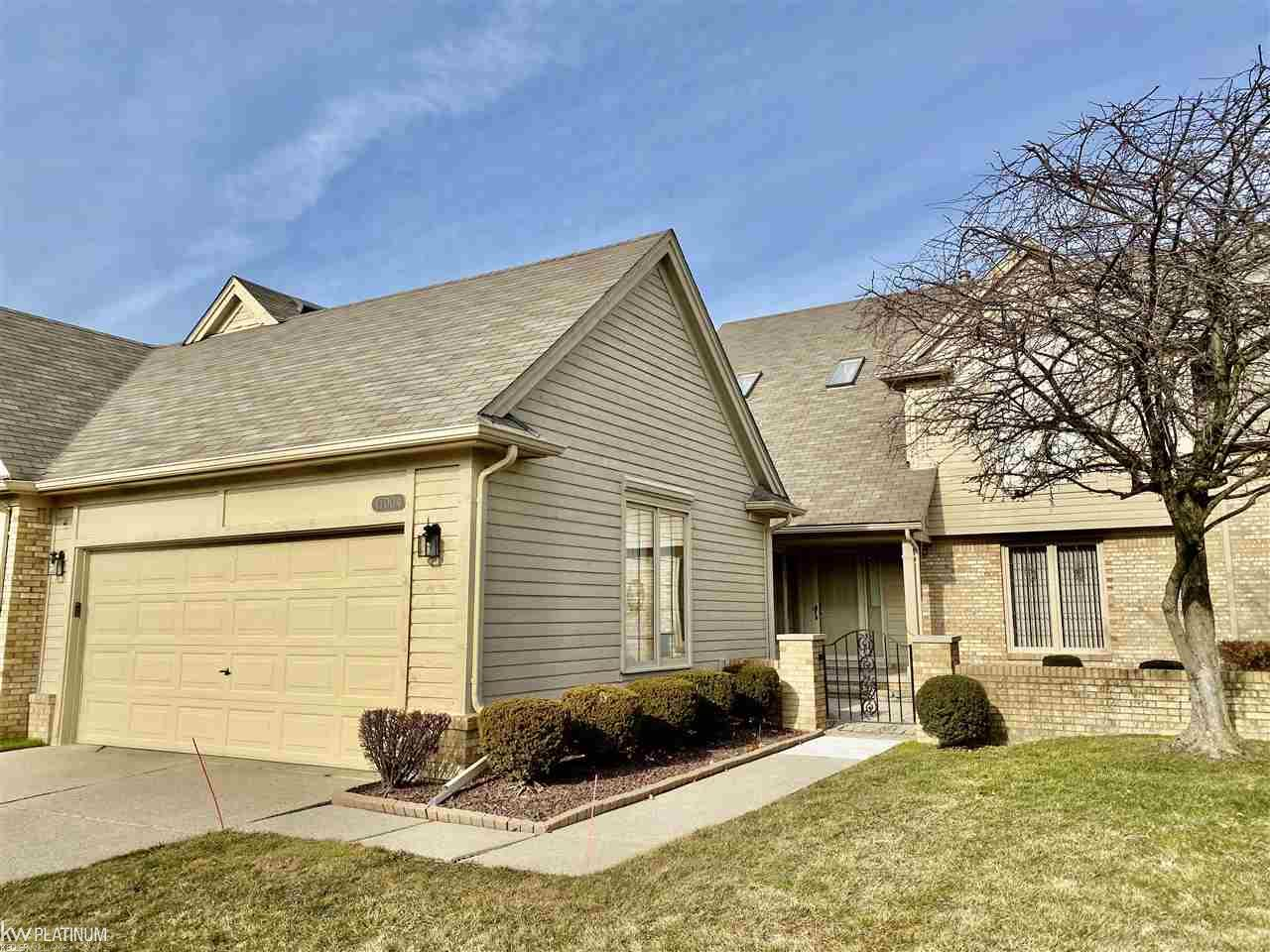 Very desirable Macomb Twp. location.  Well cared for condo overlooks pond!  2 bedrooms 3 full baths, den, 2nd floor loft and full basement.  Master suite with double closets, full bath with separate shower.  Den with full window overlooking private front courtyard. Large great room has double door walls to deck.  2 car attached garage