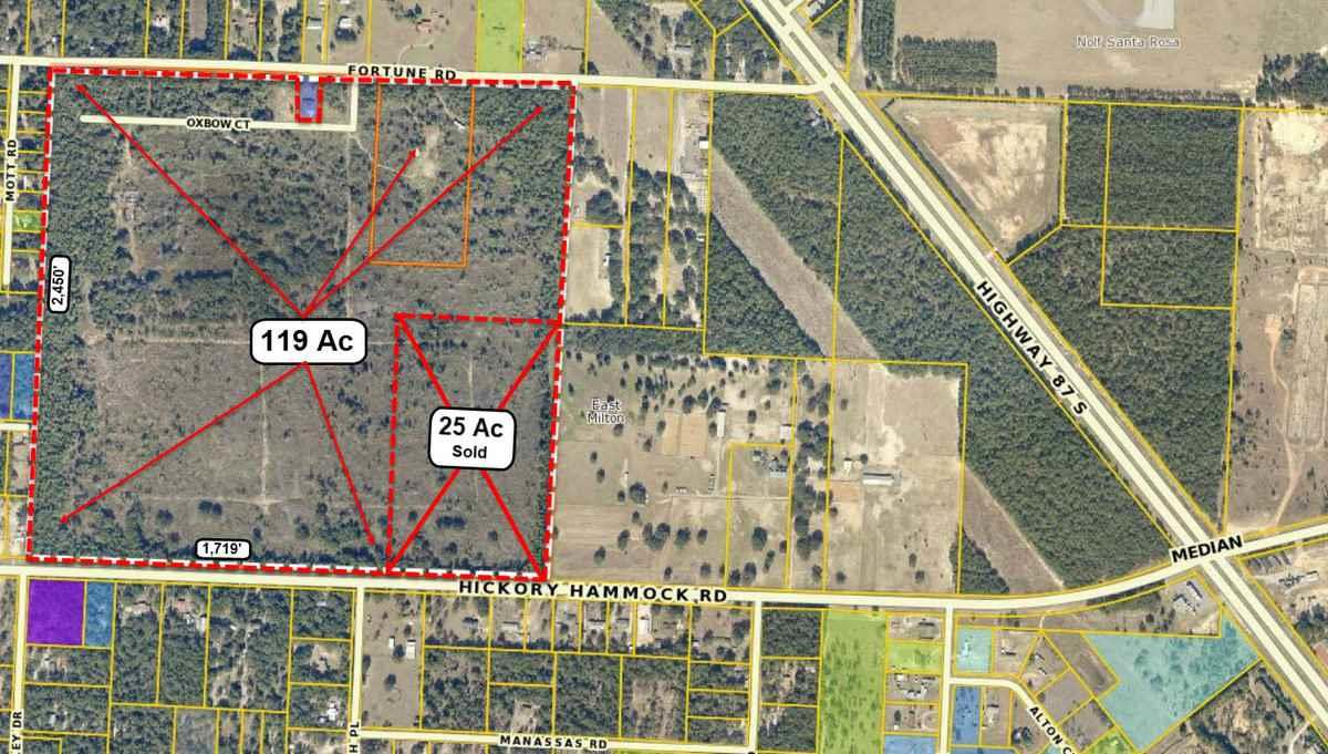Price reduced from $1,428,000 !!!!  119 acres with 1,719'+- front-feet on Hickory Hammock Rd and approx 2,260' on Fortune Rd.  Approx. dimensions are: 1,719x2450x1240x230x110x230x1261x1,147x841x1,295  Level-High and Dry / Approx. 85% (southern portion) has been rezoned to R-1.  The northern 15% is MAZ (Flight space requires lower density)   Ideal for single family development.  25 Acres in SE corner (841 x 1,295) has been sold to a family member  (144 - 25 = 119)