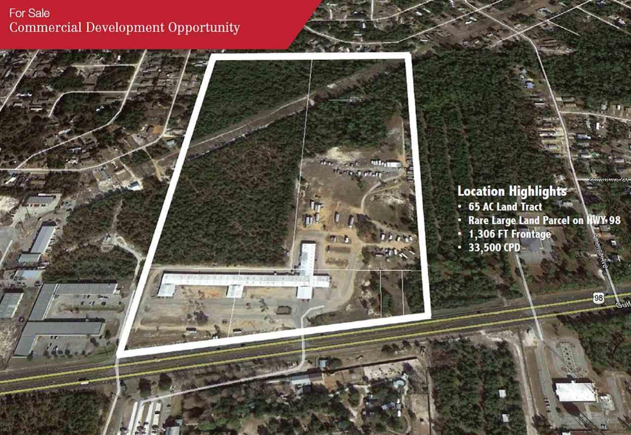 65 AC Bulk Commercial Development Property on HWY 98 in Gulf Breeze FL.  Property currently serves as the Gulf Breeze Flea Market. It has great visibility, two decel lanes and a median cut in place.   Perfect for multi-use, retail, office, office-warehouse and multi-family.  Six parcels assimilated to create a 65 AC tract with 1,306 FT of Frontage on HWY 98 and a depth of 2,307 FT. PID 20 2S 27 0000 02202 0000 4.411 AC PID 20 2S 27 0000 02203 0000 5.9559 AC PID 20 2S 27 0000 02100 0000 26.9 AC PID 20 2S 27 0000 02101 0000 27.37 AC PID 20 2S 27 0000 02204 0000 0.68 AC PID 20 2S 27 0000 02205 0000 0.68 AC