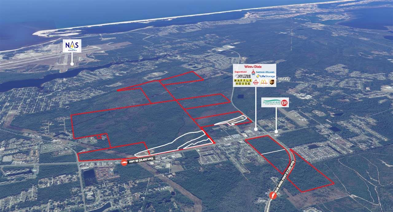 Prime 1,000+ acre development site available in the heart of Pensacola, Florida. The site is one of the largest and best commercial, mixed use, and residential development sites available in Northwest Florida and the Gulf Coast. The property consists of several parcels on the north and south side of Hwy 98 at the signaled intersection of Blue Angel Pkwy and Hwy 98. The site is centrally located in the booming Pensacola MSA and is the ideal location for a mixed-use retail, hotel, multi-family, and residential development. The property has excellent visibility and access along the highly trafficked Hwy 98 which serves as the major arterial in NW Florida and stretching all the way to Alabama and southern Florida. The Pensacola market has experienced explosive growth in recent years due to the high population growth and strong median income. The strong economy and tourism has fueled the housing and retail demand in Pensacola over recent years. Pensacola benefits from the financial sector employment including Navy Federal Credit Union which recently announced expansion plans to double its workforce by 2020 and employment total to more than 10,000. The government has a substantial presence in the metro with more than 23,000 military and civilian personnel employed at NAS Pensacola, located just miles from the site. There have been several new developments in the immediate vicinity with the brand new Perdido Urgent Care across the street and a newly built strip center adjacent to the site. The property is close proximity to the core retail trade area, the airport, hospital, University of West Florida, NAS Pensacola, Whiting Field Naval Base, and the beautiful tourist beach destinations such as Perdido Key, Pensacola Beach, Gulf Breeze, and Navarre Beach.   The acreage is zoned Heavy Commercial Light Industrial (HC/LI) and High Density Mixed Use (HDMU) which allows for a wide variety of commercial and residential uses. The density allowed varies on the proposed use and site