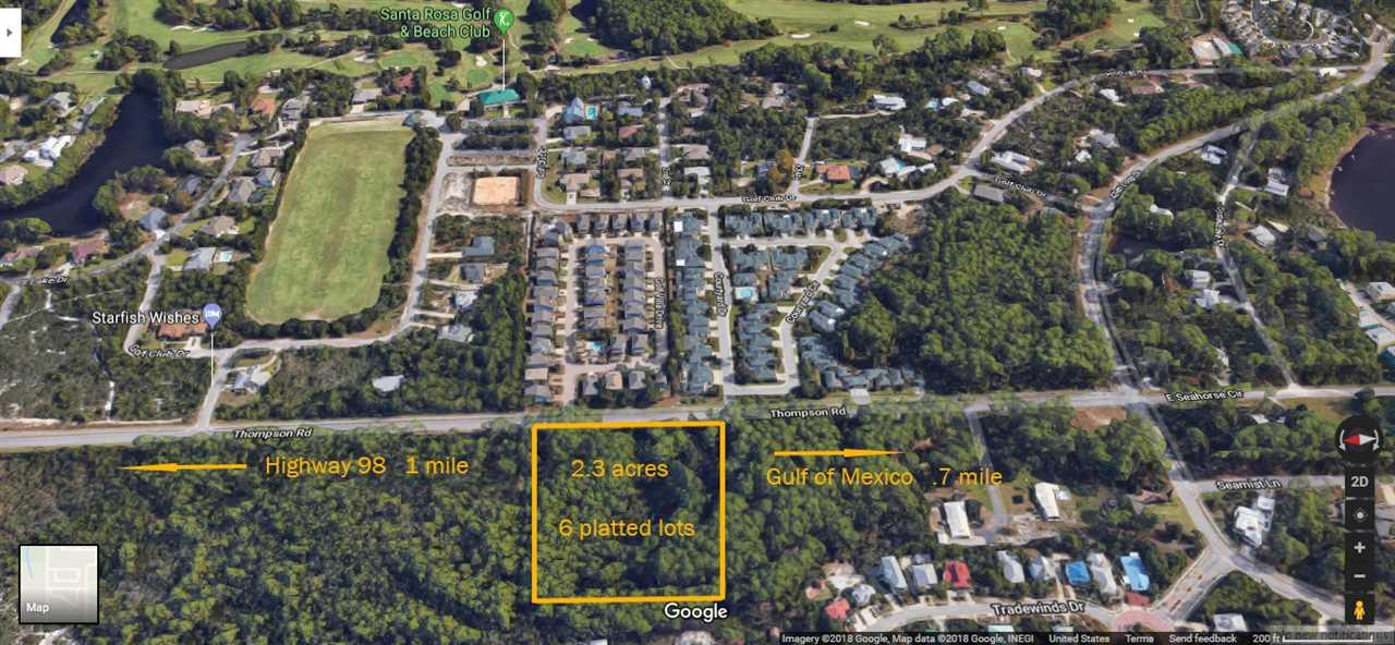 They're not building any additional land in Walton County so this is a great opportunity for a family or a developer to be close to the beach and Highway 98.  Over 2 acres of land with six platted lots in Marinwood Subdivision in Santa Rosa Beach.  Lots are configured north/south and would need two streets for access if the buyer plans to develop all six lots.   There is a creek that is on the two western lots (21 and 22) so a wetlands and elevation survey would be needed prior to building on either.