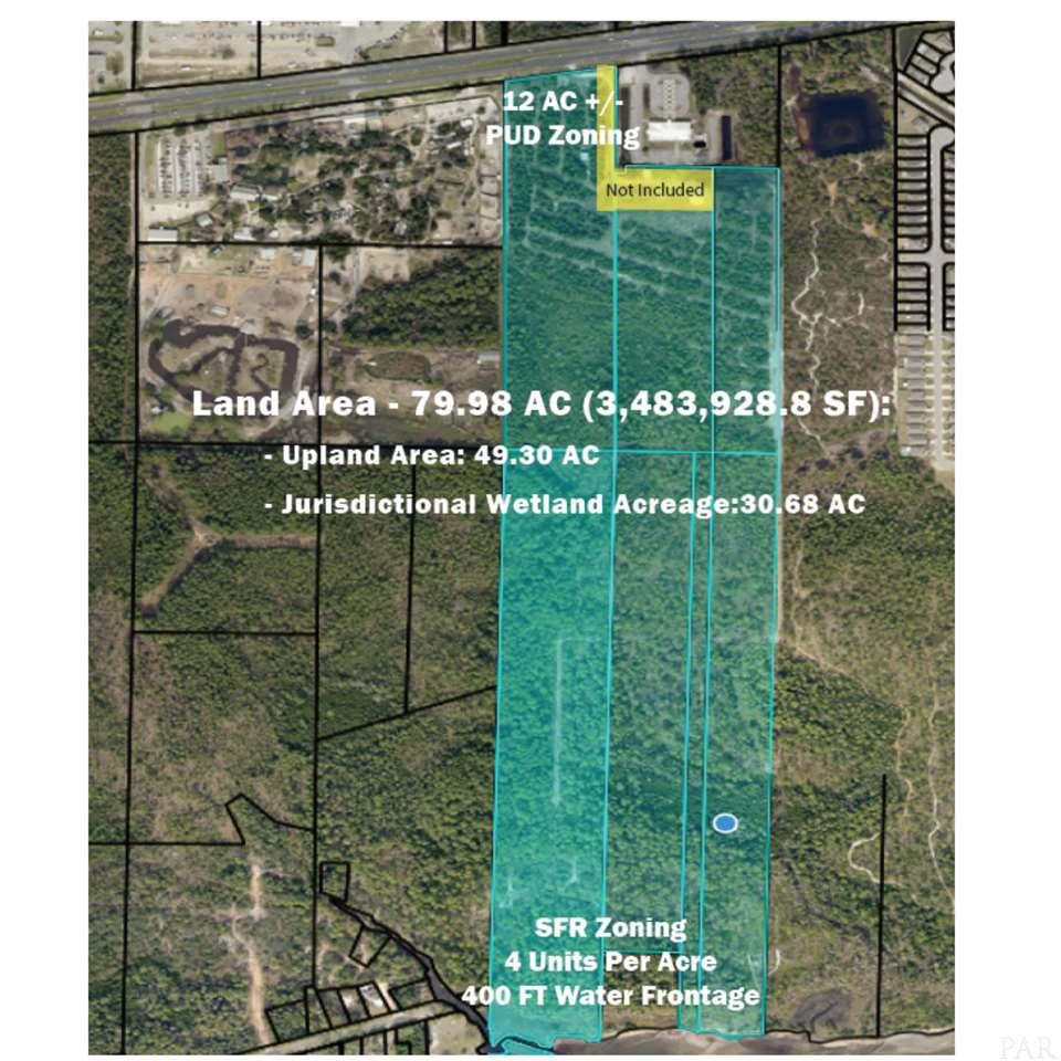Highly desirable, mixed-use land tract, perfect for multi-use development. The subject property is a 79.98-acre tract under two zoning districts. Approximately, 12 acres fronts Gulf Breeze Pkwy and is zoned PBD (Planned Business District). This portion of the property enjoys maximum exposure on a heavy traffic corridor and is well suited for commercial development. PBD zoning allows for office, commercial, retail, multi-family, churches, and single-family. 30 DU/Per Acre  The remaining 68 acres is zoned R-1 (single-family residential) and allows for a density of up to 4 units per acre. The property has a level, to slightly rolling topography. The location is in an area of increasing home values, and strong continued demand for newly built homes. The property enjoys over 400 FT of frontage on Santa Rosa Sound- noted for its boating, world-class fishing, and breathtaking views.  Upland Area: 49.30 Jurisdictional Wetlands: 30.68   20-2S-27-0000-01201-0000  15.29  AC  20-2S-27-0000-00303-0000   7.00  AC  20-2S-27-0000-00301-0000   6.39  AC 29-2S-27-0000-00200-0000  20.85 AC  29-2S-27-0000-01900-0000  13.71 AC  29-2S-27-0000-00101-0000    12.4  AC  29-2S-27-0000-01800-0000    4.27 Ac